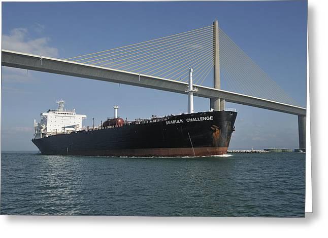 St Petersburg Florida Greeting Cards - Ship under Sunshine Skyway Bridge Greeting Card by Bradford Martin