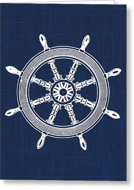 Ship Wheel Nautical Print Greeting Card by Jaime Friedman