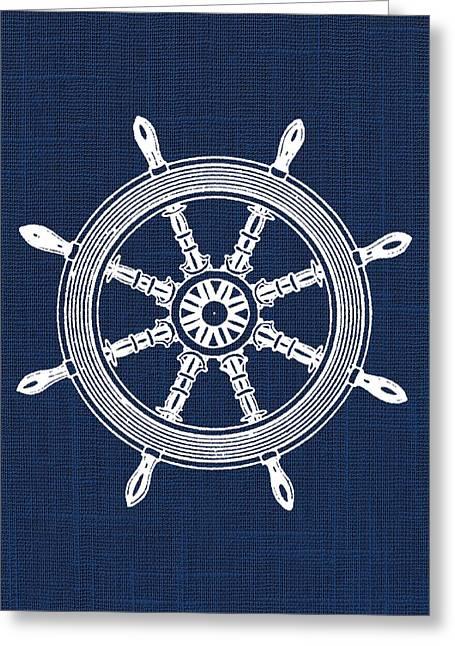 Nursery Theme Greeting Cards - Ship Wheel Nautical Print Greeting Card by Jaime Friedman
