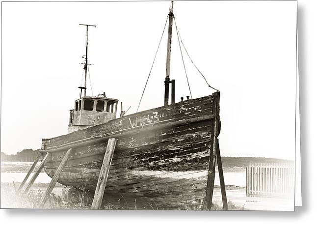 Trawler Greeting Cards - Ship wreck Greeting Card by Tom Gowanlock
