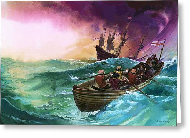 Danger Drawings Greeting Cards - Ship-wrecked Sailors Greeting Card by Andrew Howat