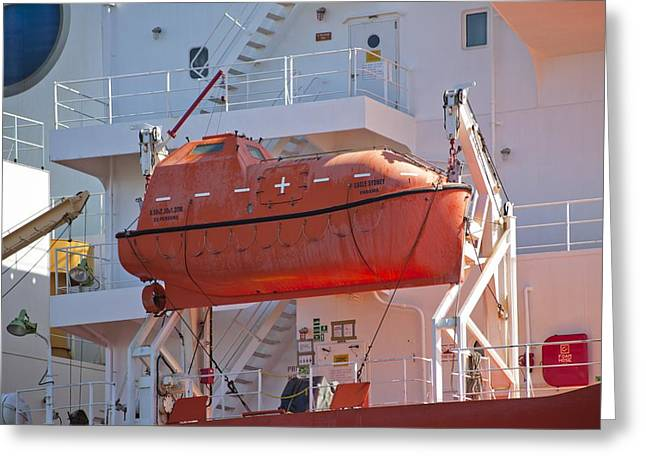 Davit Greeting Cards - Shipboard lifeboat Greeting Card by Science Photo Library