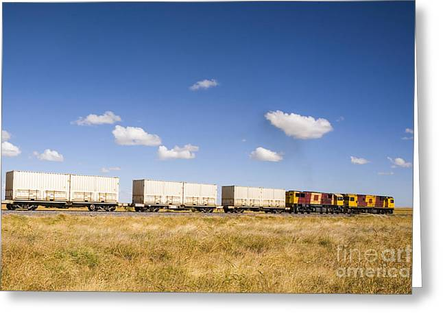 Diesel Greeting Cards - Shipping Containers on the Move by Train Greeting Card by Colin and Linda McKie