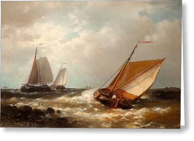 Ship Rough Sea Greeting Cards - Shipping In A Breeze Greeting Card by Abraham Hulk