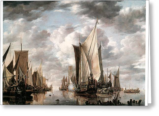 Sea Going Greeting Cards - Shipping in a Calm at Flushing wiht a States general Yacht Firing a Salute Greeting Card by Jan van de Cappelle