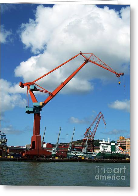 Grapple Greeting Cards - Shipping Industry Crane 07 Greeting Card by Antony McAulay
