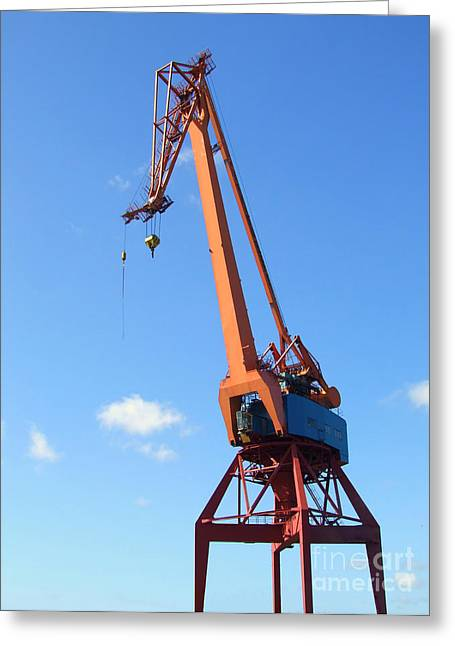 Grapple Greeting Cards - Shipping Industry Crane Greeting Card by Antony McAulay