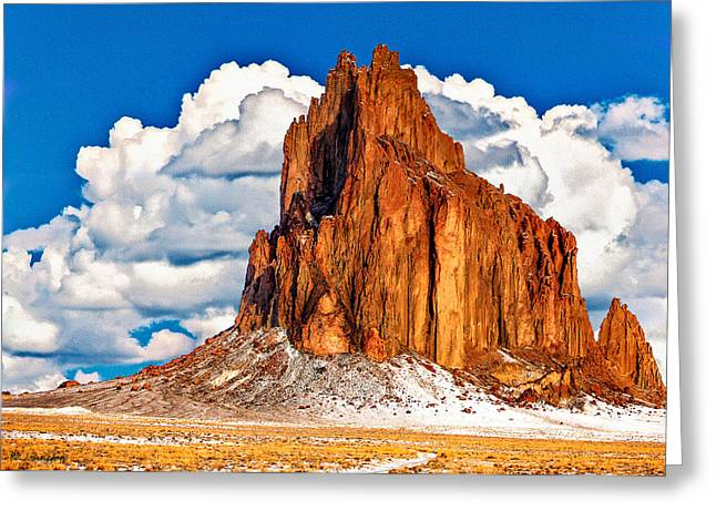 Monolith Greeting Cards - Shiprock And Clouds  Greeting Card by  Bob and Nadine Johnston