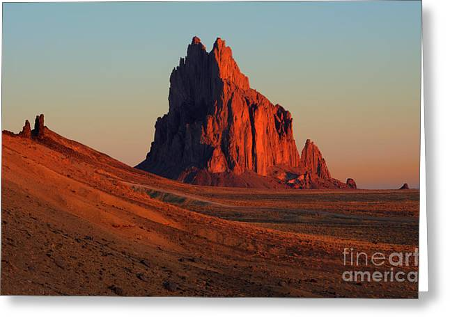 Photography As Art Greeting Cards - Shiprock Golden Light Greeting Card by Bob Christopher