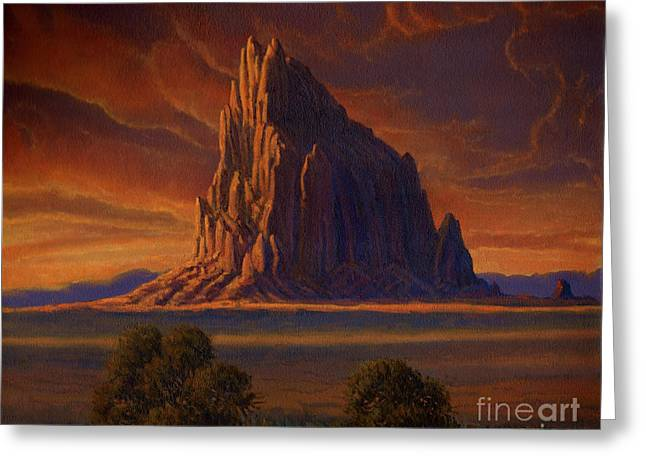 American Indian Legends Greeting Cards - Shiprock Sunset Greeting Card by Randy Follis