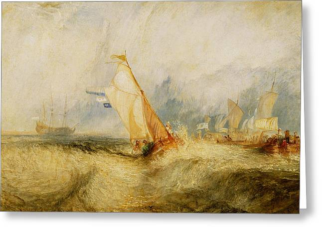 Choppy Greeting Cards - Ships a Sea Getting a Good Wetting Greeting Card by Joseph Mallord