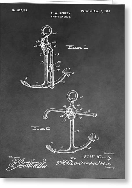 Brakes Drawings Greeting Cards - Ships Anchor Patent Greeting Card by Dan Sproul