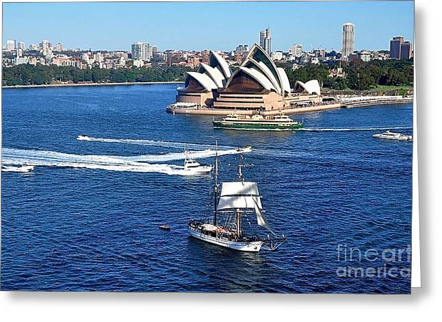 Ships And Boats Greeting Cards - Ships and Boats passing Opera House Greeting Card by Kaye Menner