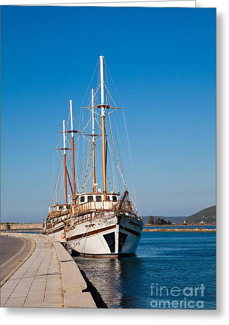 Docked Sailboats Photographs Greeting Cards - Ships at Lefkada Greeting Card by Gabriela Insuratelu