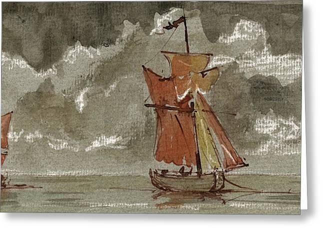 Sail-ship Greeting Cards - Ships at sea Greeting Card by Juan  Bosco