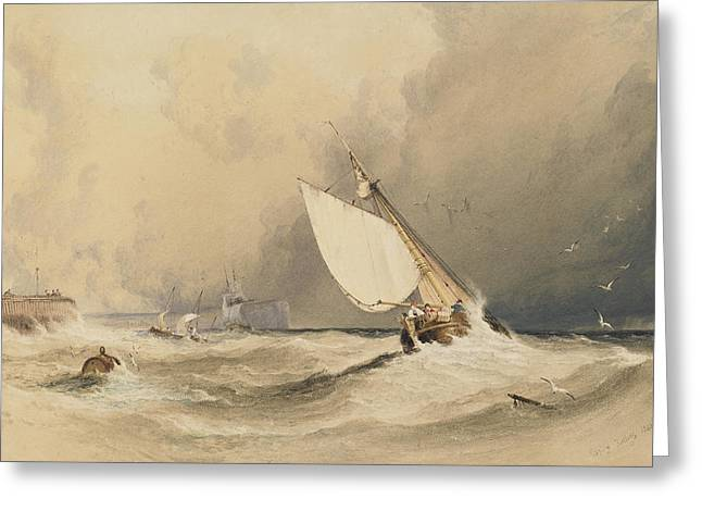 Billowing Greeting Cards - Ships at sea off Folkestone harbour storm approaching Greeting Card by Anthony Vandyke Copley Fielding