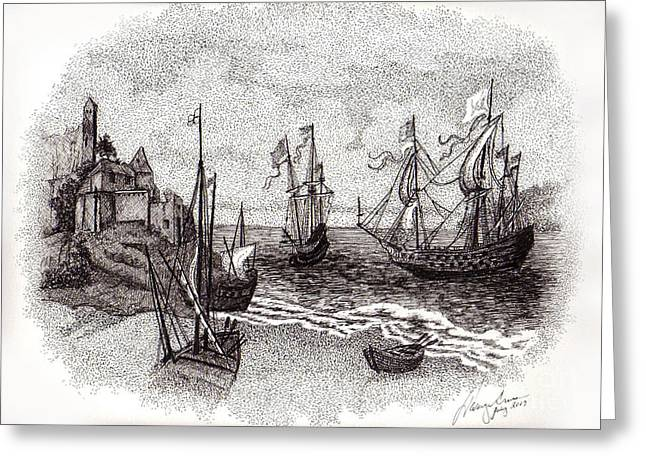 Tall Ships Drawings Greeting Cards - Ships at Sea Greeting Card by Tanya Crum