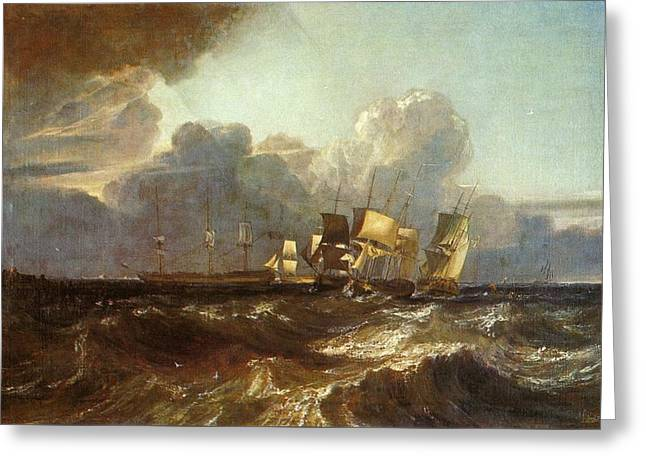 Painter Of Light Greeting Cards - Ships Bearing up for Anchorage   The Egremont Sea Piece 1802 Greeting Card by J M W Turner