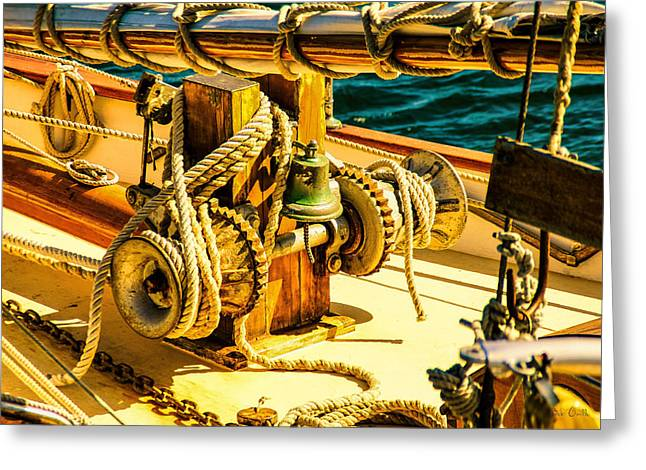 Ships Bell Sailboat Greeting Card by Bob Orsillo