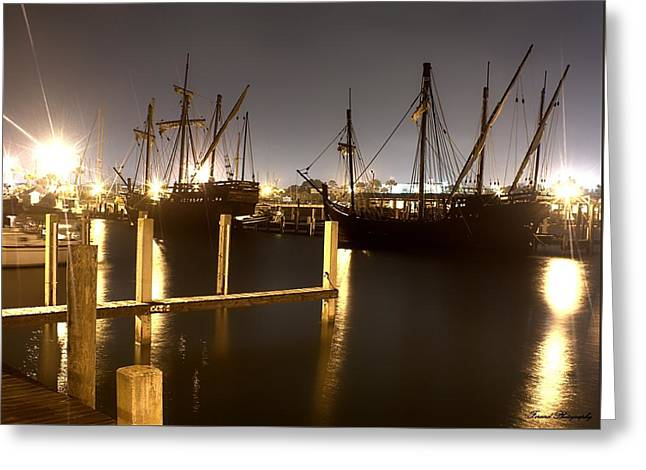 Ships From Afar Greeting Card by Debra Forand