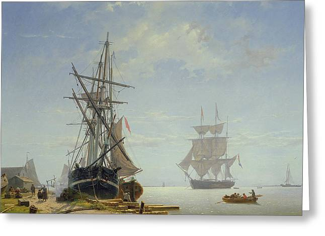 Ships in a Dutch Estuary Greeting Card by WA Van Deventer
