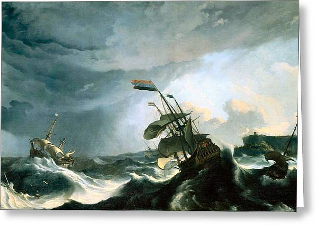 Wooden Ship Paintings Greeting Cards - Ships in Distress in Heavy Storm 1690 Greeting Card by Ludolf Backhuysm