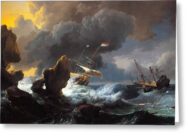 Ships In Distress Off A Rocky Coast Greeting Card by Ludolf Bakhuizen