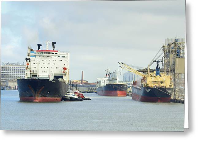 Galveston Greeting Cards - Ships in Galveston Harbor Greeting Card by Bradford Martin