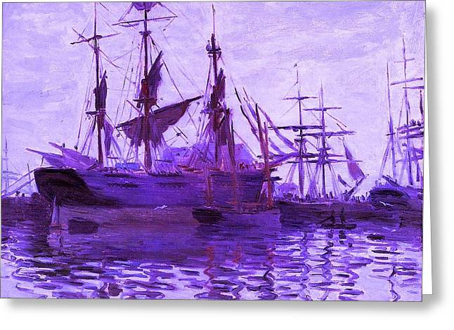 Ships In Harbor Enhanced Violet IIi  Greeting Card by Claude Monet - L Brown