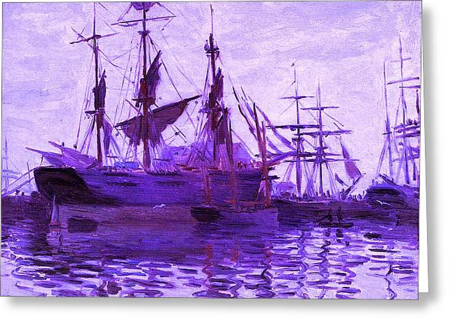 Boats In Harbor Mixed Media Greeting Cards - Ships In Harbor Enhanced Violet III Upsized Greeting Card by Claude Monet - L Brown