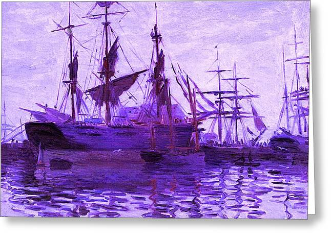 Ships In Harbor Enhanced Violet IIi Upsized Greeting Card by Claude Monet - L Brown