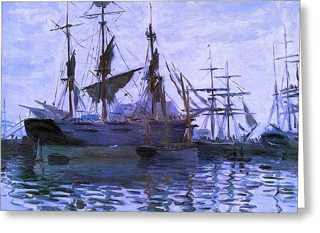 Ships In Harbor Enhanced Xi Greeting Card by Claude Monet - L Brown