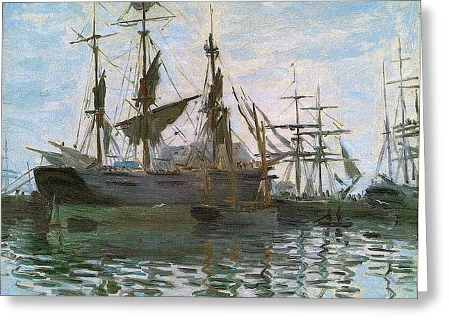 Boats In Harbor Mixed Media Greeting Cards - Ships In Harbor Upsized and Enhanced Greeting Card by Claude Monet - L Brown