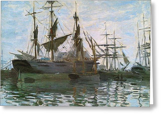 Ships In Harbor Upsized And Enhanced Greeting Card by Claude Monet - L Brown