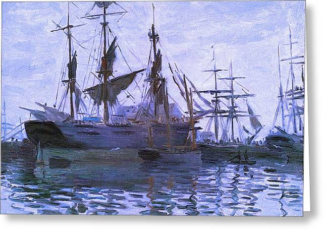 Ships In Harbor Upsized Enhanced II Greeting Card by Claude Monet - L Brown