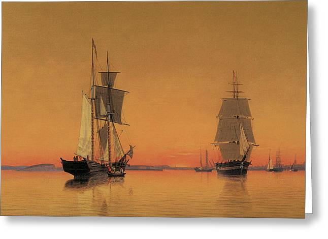 Ships in the Boston Harbor at Twilight Greeting Card by William Bradford