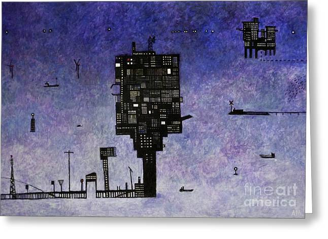 Ocean Landscape Greeting Cards - Ships in the Night III Greeting Card by Andy  Mercer