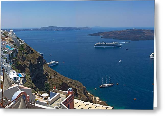 Oia Greeting Cards - Ships In The Sea Viewed From A Town Greeting Card by Panoramic Images