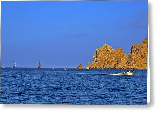 Pirates Greeting Cards - Ships lining up at Lands End Greeting Card by Christine Till