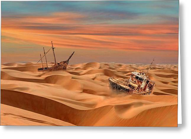 Middle Of Nowhere Greeting Cards - Ships of the Desert Greeting Card by Alex Hardie