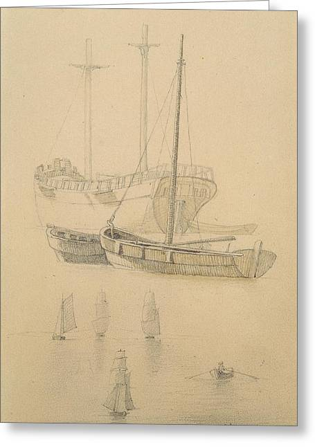 Row Boat Photographs Greeting Cards - Ships Pencil On Paper Greeting Card by Caspar David Friedrich