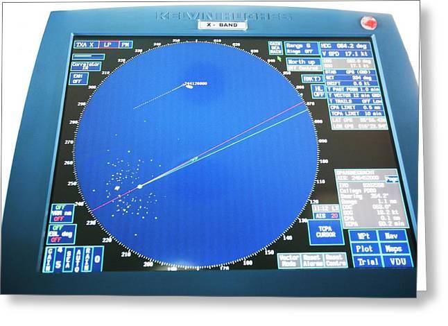 Ship's Radar Screen Greeting Card by Adam Hart-davis