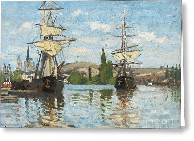 Sailboat Ocean Greeting Cards - Ships Riding on the Seine at Rouen Greeting Card by Claude Monet