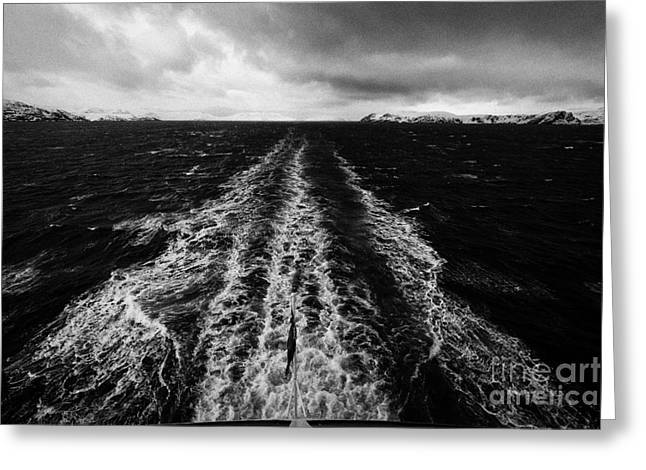 Scandanavian Greeting Cards - Ships Wake In The Sea With Snow Covered Cliffs And Rugged Arctic Coastline Northern Norway Greeting Card by Joe Fox