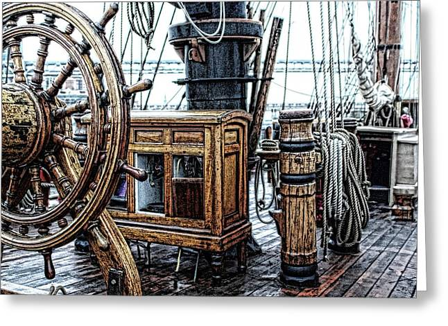 Tall Ships Mixed Media Greeting Cards - Ships Wheel And Compass Cabinet Greeting Card by Don Bendickson