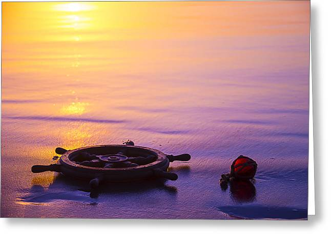 Combing Greeting Cards - Ships Wheel and Fishing Float Greeting Card by Garry Gay