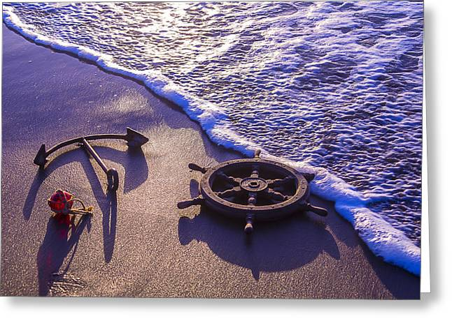 Combing Greeting Cards - Ships Wheel Ocean Beach Greeting Card by Garry Gay