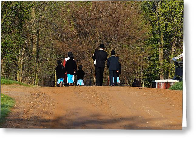 Amish Family Greeting Cards - Shipshewanna Amish family on their way to church Greeting Card by Jay Dreifus