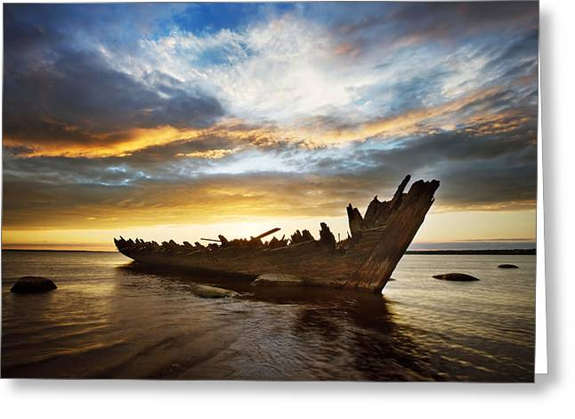 Water Vessels Pyrography Greeting Cards - Shipwreck at sunset Greeting Card by Anna Grigorjeva
