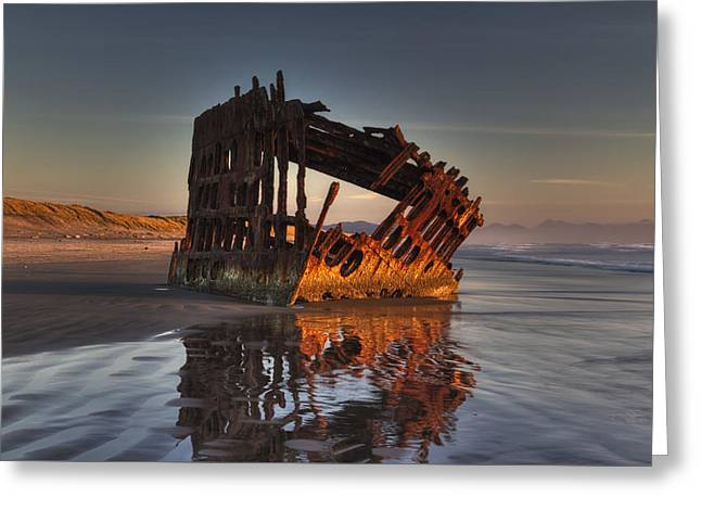 Shipwreck At Sunset Greeting Card by Mark Kiver
